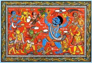 El fiero Kumbakarna se comió a miles de monos. Ramayana de Raghurajpur (Orissa, India)